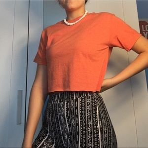 Tops - Handmade light orange cropped top